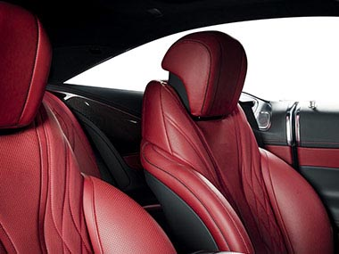 Modern luxury race car red leather interior