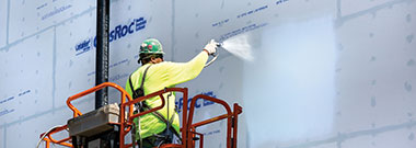 Application of sealant products on building exterior