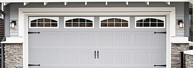 Outside view of an insulated garage door