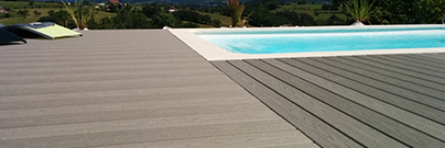 Gray wood composite deck