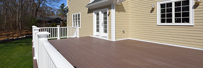 A deck created with composite materials