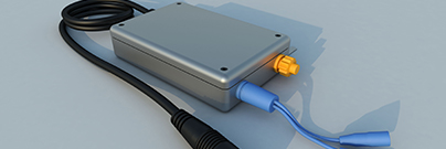 Illustration of a closed micro-inverter isolated on a grey background