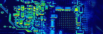 Infrared image of an electronic circuit board