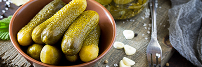 Pickles with mustard and garlic