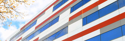 Red white and blue building