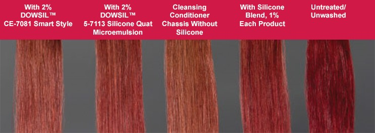 Hair examples after 24 treatments with cleansing conditioner.