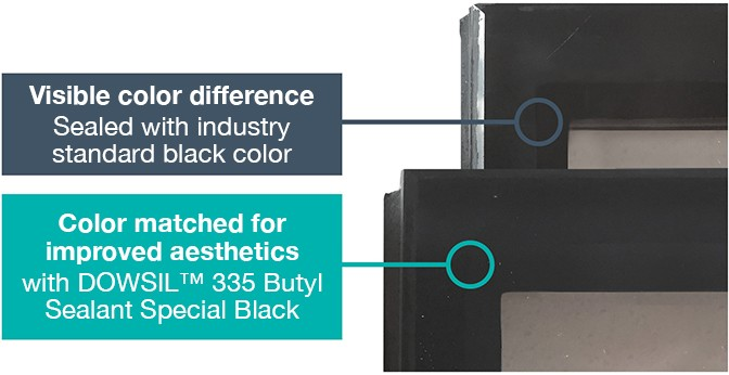 Butyl  - industry standard black vs. DOWSIL 335 Butyl Special Black