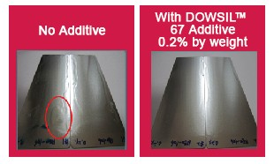Testing images of improved wetting performance in a waterborne PUD coating with DOWSIL™ 67 Additive