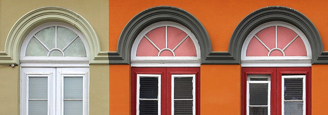 Building of different colors with alike windows